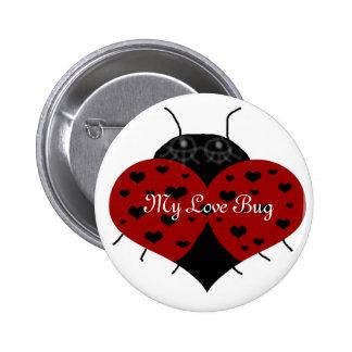 Mariquita del corazón mi botón del insecto del pins