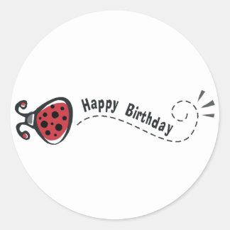 Mariquita del feliz cumpleaños pegatina redonda