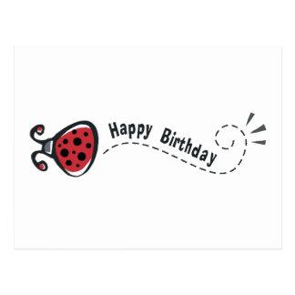 Mariquita del feliz cumpleaños postal
