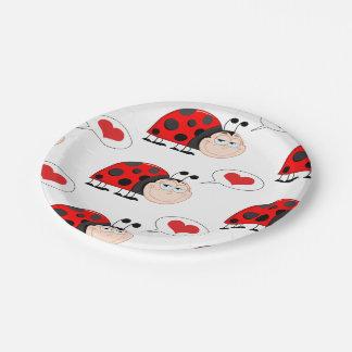 Mariquita del insecto del amor platos de papel