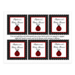 Mariquita del rojo de 6 etiquetas del favor tarjeta postal