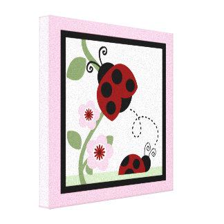 Mariquita e impresión de la lona de las flores 4 impresiones de lienzo