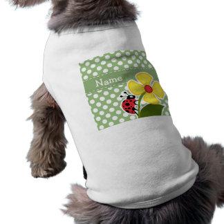 Mariquita en lunares del verde del laurel playera sin mangas para perro