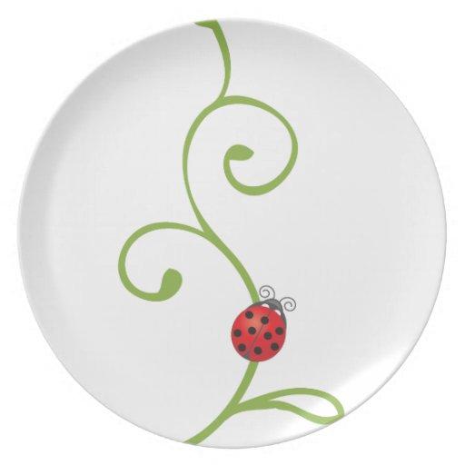 Mariquita en vid platos de comidas