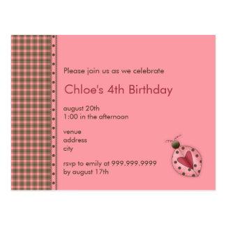Mariquita • Invitación del cumpleaños Postal