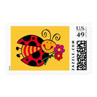 Mariquita linda como insecto timbres postales