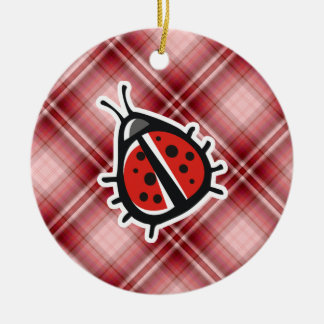 Mariquita linda de la tela escocesa roja adornos