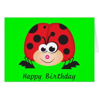 Mariquita linda del dibujo animado tarjeta de felicitación
