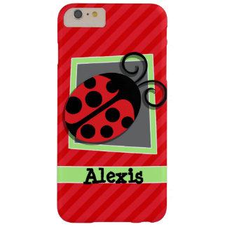 Mariquita linda; Rayas del rojo del escarlata Funda Barely There iPhone 6 Plus