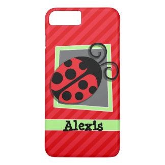 Mariquita linda; Rayas del rojo del escarlata Funda iPhone 7 Plus