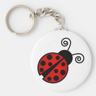 Mariquita linda - rojo y negro llavero redondo tipo pin