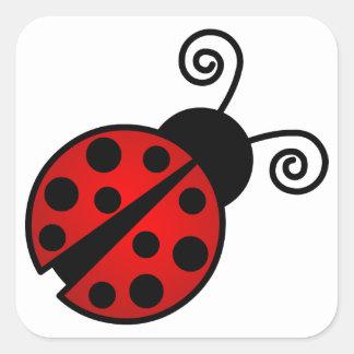 Mariquita linda - rojo y negro calcomanías cuadradas personalizadas