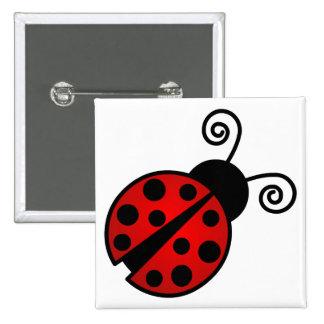 Mariquita linda - rojo y negro pin cuadrado