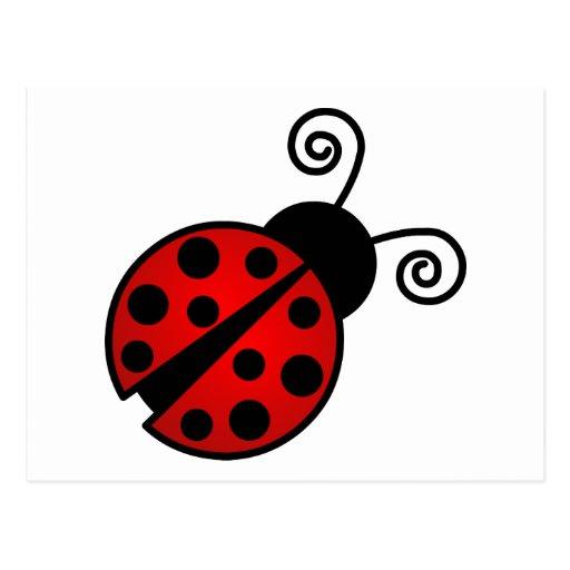 Mariquita linda - rojo y negro tarjetas postales