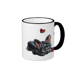 Mariquita negra del dogo francés taza de dos colores