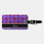 Mariquita púrpura conocida personalizada del brill etiqueta de equipaje