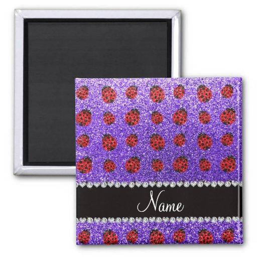 Mariquita púrpura conocida personalizada del brill iman de frigorífico