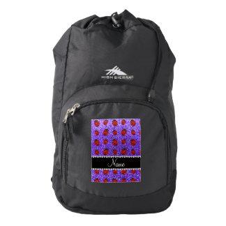 Mariquita púrpura conocida personalizada del mochila