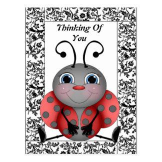Mariquita que piensa en usted postal