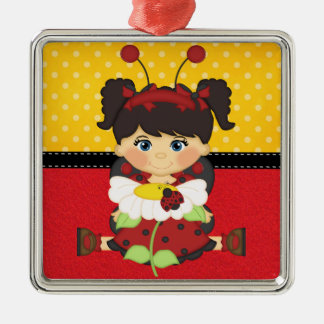 Mariquita retra femenina ornamentos de navidad