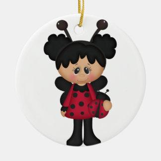 Mariquita retra femenina adorno de navidad