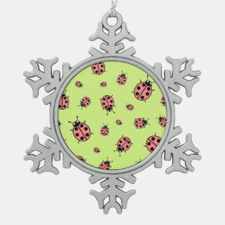 Mariquita roja del vector (fondo verde) adornos