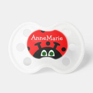 Mariquita roja personalizada chupete de bebé
