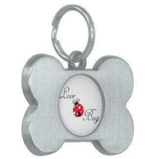 Mariquita roja placa de mascota