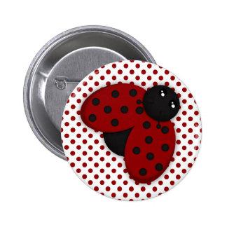 Mariquita roja y negra pin redondo 5 cm