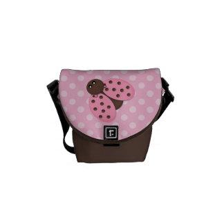 Mariquita rosada bolsa de mensajeria