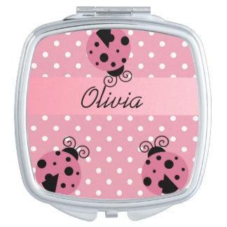 Mariquita rosada con el espejo compacto de los lun