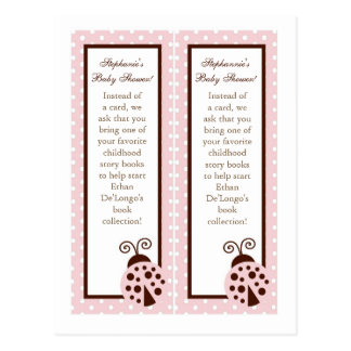 Mariquita rosada de 2 marcas de libro tarjetas postales