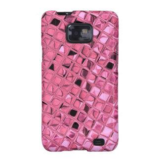 Mariquita rosada femenina metálica brillante del galaxy SII fundas