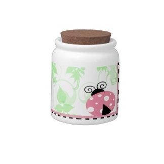 Mariquita rosada, frontera a cuadros y lunares jarras para caramelos