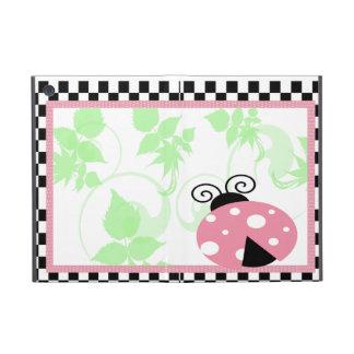 Mariquita rosada, frontera a cuadros y lunares iPad mini protector