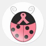 Mariquita rosada pegatinas redondas