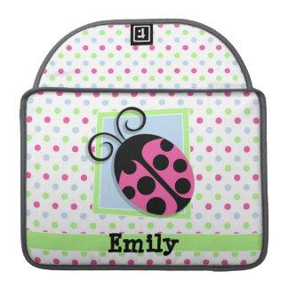 Mariquita rosada, rosa, azul, verde, lunares fundas para macbook pro