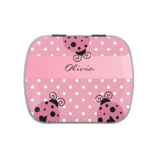 Mariquita rosada y lunar personalizados frascos de caramelos
