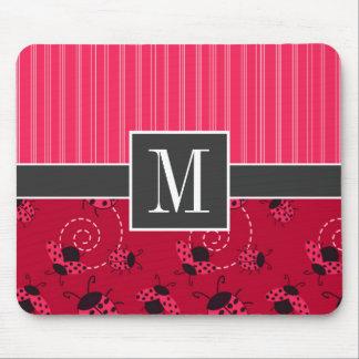 Mariquita rosada y negra elegante tapetes de raton