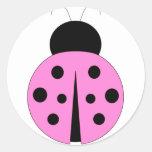 Mariquita rosada y negra etiquetas redondas