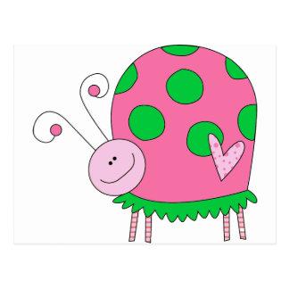 Mariquita rosada y verde de Lil de muy buen gusto Tarjeta Postal