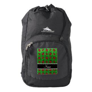 Mariquita verde conocida personalizada del brillo mochila