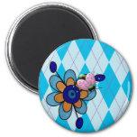 Mariquita y flor azules de Argyle Imán Redondo 5 Cm