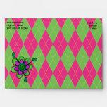 Mariquita y flor rosadas y verdes de Argyle