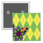 Mariquita y flor verdes y amarillas de Argyle Pins