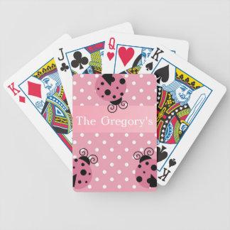 Mariquita y lunares rosados baraja de cartas bicycle