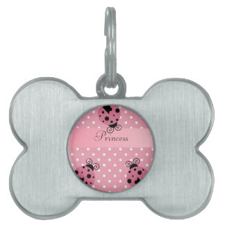 Mariquita y lunares rosados placa de mascota