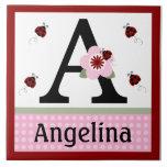 Mariquita y teja personalizadas del nombre de letr