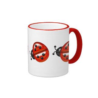 Mariquitas blancas y rojas lindas taza de dos colores