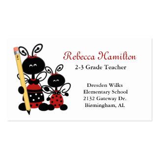 Mariquitas con la tarjeta de la visita del profeso tarjetas de visita